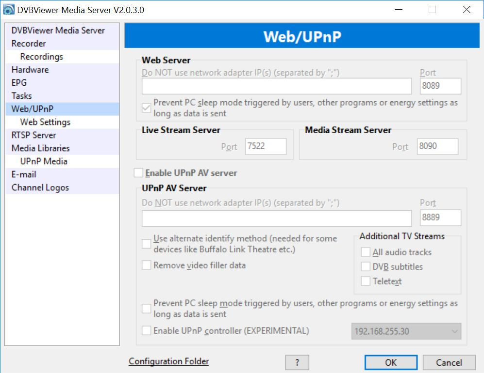 Media Server web interface configuration not possible - DVBViewer